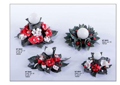 Picture of Portacandela grande  con fiori  rossi e decorazioni bianche NT8935